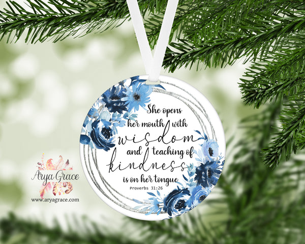 Blue Floral Proverbs 31:26 Ornament