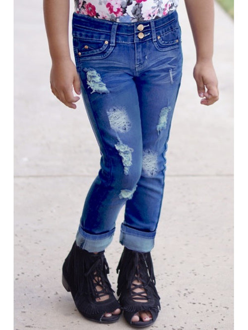 Blueberry Wash Distressed Denim PREORDER