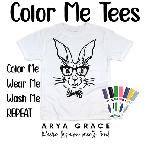 Bunny with Glasses+Bow Tie Color Me💙Graphic Tee {Toddler/Youth Sizing}