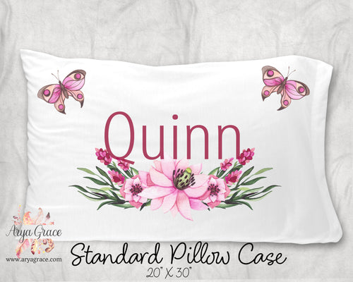 Butterfly Floral Personalized Pillow Case