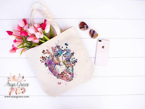 Butterfly Heart Canvas Tote