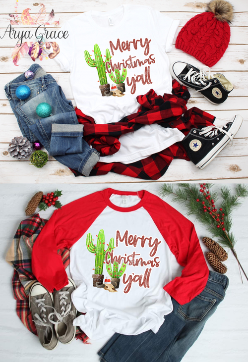 Cactus Merry Christmas Y'all Graphic Tee