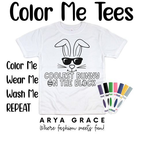 Coolest Bunny on the Block Color Me💙Graphic Tee {Toddler/Youth Sizing}