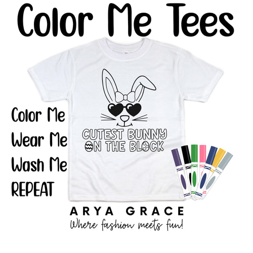 Cutest Bunny on the Block Color Me💙Graphic Tee {Toddler/Youth Sizing}