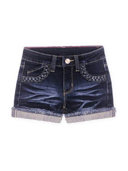 Dark Wash Braided Denim Shorts