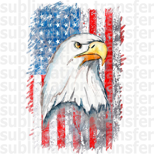 Distressed Flag with Eagle Sublimation Transfer