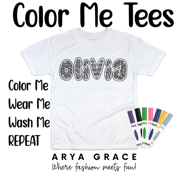 Doodlegum Font Color Me💙Name Graphic Tee {Toddler/Youth Sizing}