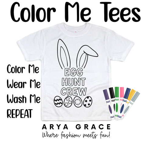 Bunny Ears Egg Hunt Crew Color Me💙Graphic Tee {Toddler/Youth Sizing}