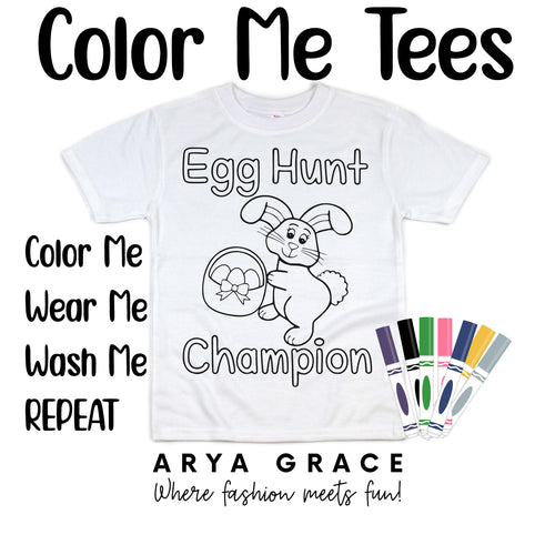 Egg Hunt Champion(Bunny w/ Basket) Color Me💙Graphic Tee {Toddler/Youth Sizing}