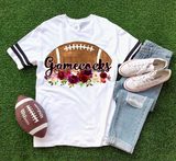 Floral Football Gamecocks Graphic Tee {Adult Sizing}