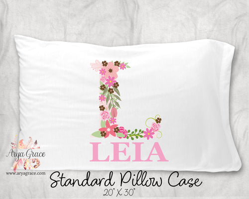 Floral Initial Personalized Pillow Case