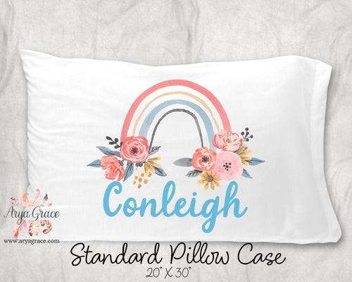 Floral Rainbow Personalized Pillow Case