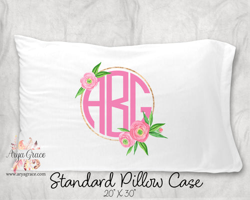 Gold Floral Circle Personalized Pillow Case