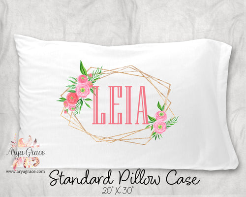 Gold Floral Frame Personalized Pillow Case