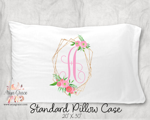 Gold Floral Frame Single Initial Pillow Case