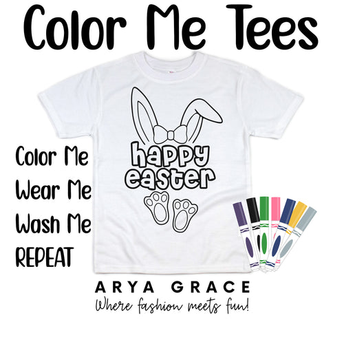 Happy Easter with Bow Color Me💙Graphic Tee {Toddler/Youth Sizing}