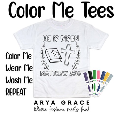 He is Risen Color Me💙Graphic Tee {Toddler/Youth Sizing}