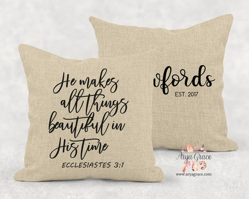 He Makes Everything Beautiful In His Time Pillow Cover