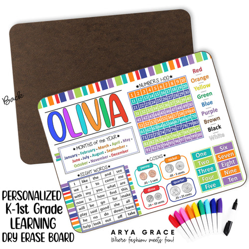 Personalized K-1st Grade Learning Dry Erase Board