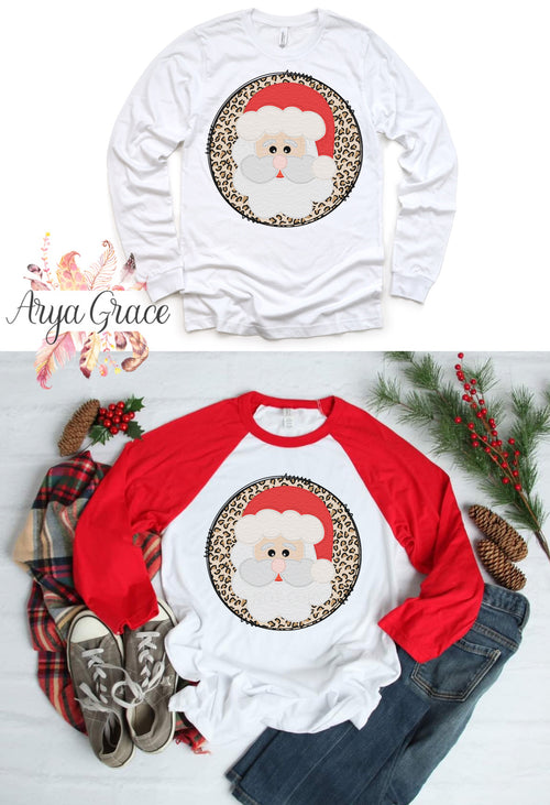 Christmas Santa Leopard Circle Graphic Tee