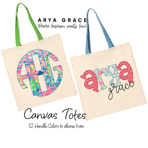 Canvas Tote {Colored Handles}