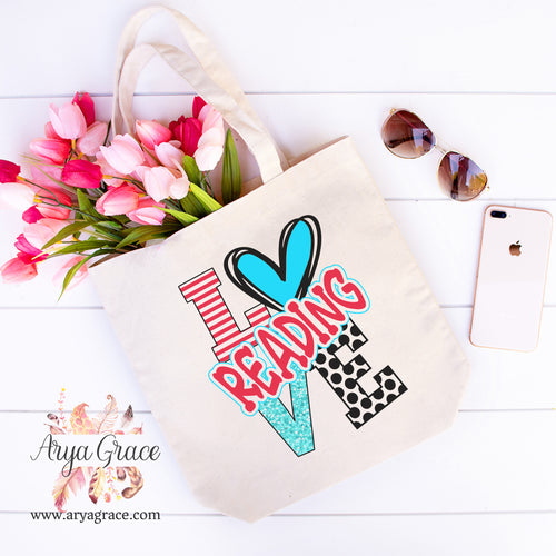 Love Reading Canvas Tote