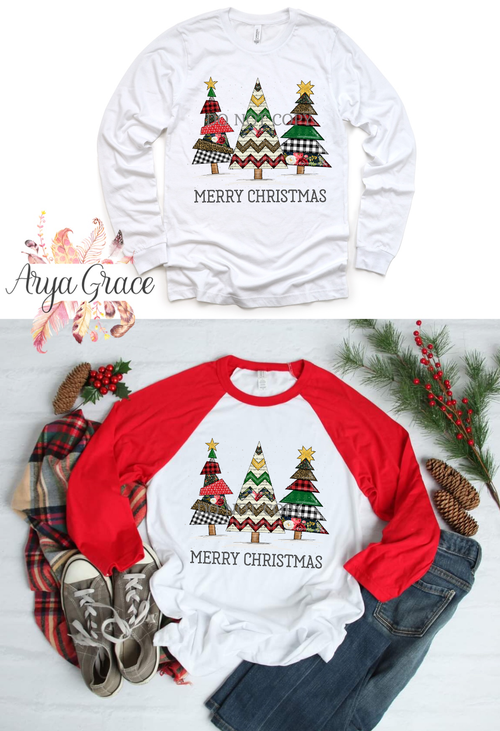 Merry Christmas Quilt Trees Graphic Tee