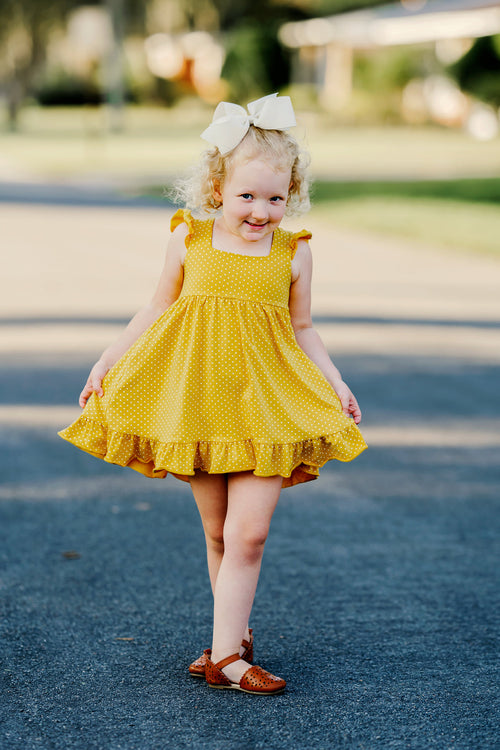 Mustard Dot Vintage Audrey Dress Set