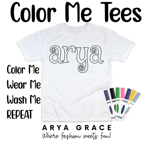 Mystery Font Color Me💙Name Graphic Tee {Toddler/Youth Sizing}