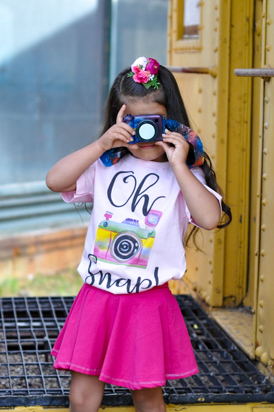 Oh Snap Watercolor Camera Graphic Tee