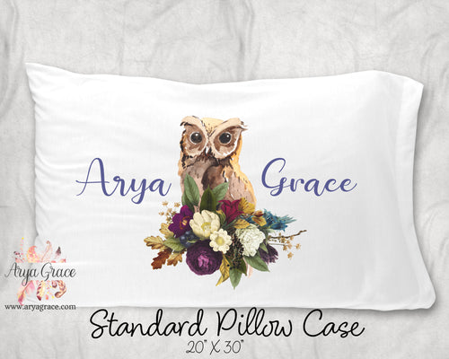 Floral Owl Personalized Pillow Case