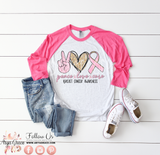 Peace Love Cure Raglan Graphic Tee