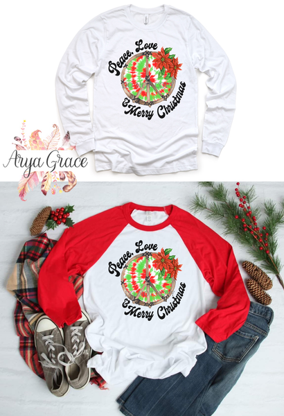 Peace Love Merry Christmas Graphic Tee