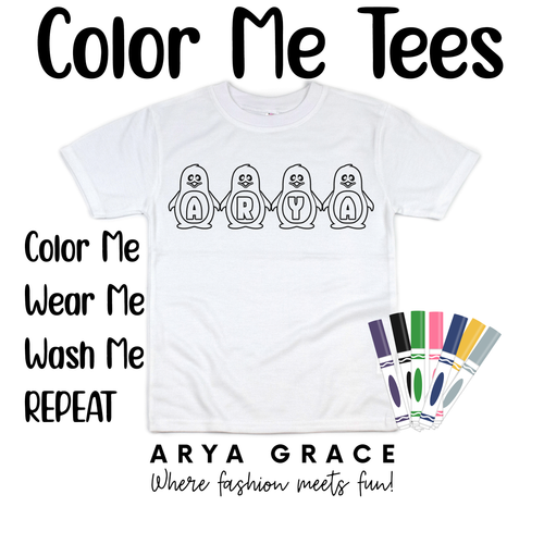 Penguin Font Color Me💙Name Graphic Tee {Toddler/Youth Sizing}