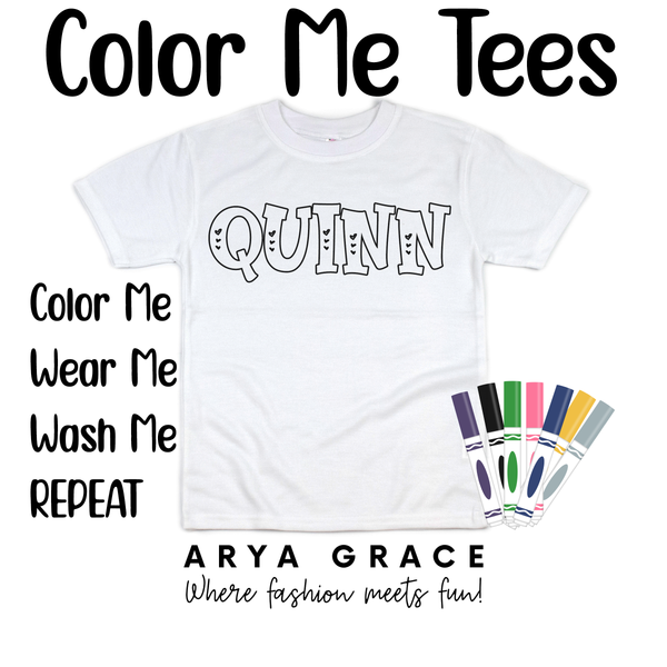Perfect Love Font Color Me💙Name Graphic Tee {Toddler/Youth Sizing}