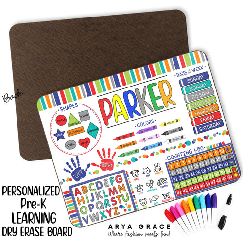 Personalized PRE-K Learning Dry Erase Board {Primary Colors}
