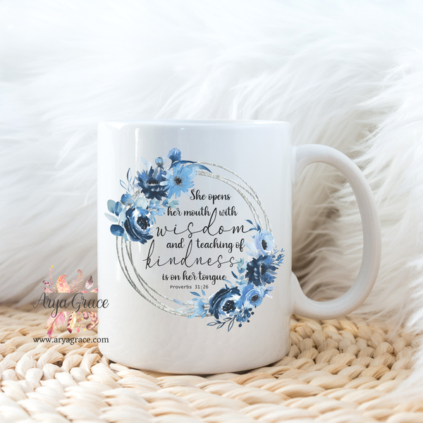 Proverbs 31:26 Blue Floral Wreath Coffee Mug