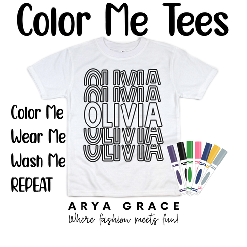 Rainbow Font Color Me💙Name Graphic Tee {Toddler/Youth Sizing}
