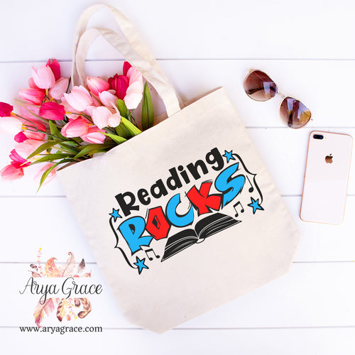 Reading Rocks Canvas Tote
