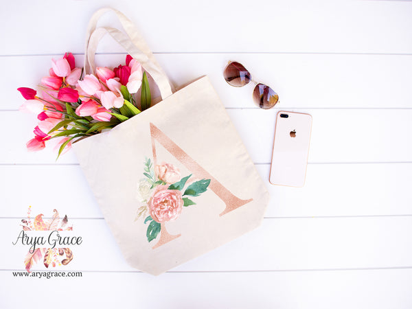Rose Gold Floral Initial Canvas Tote
