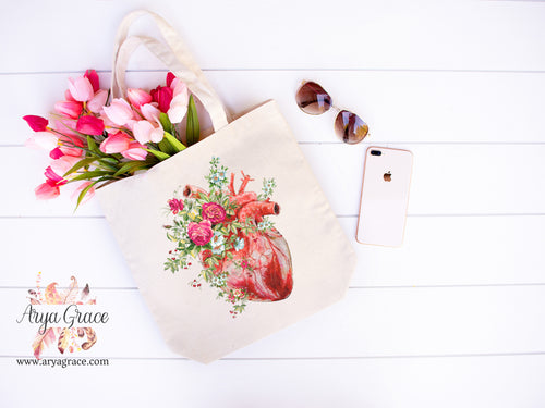 Rose Heart Canvas Tote