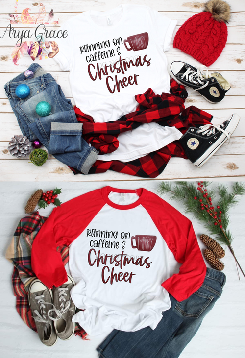 Running on Caffeine and Merry Christmas Cheer Graphic Tee