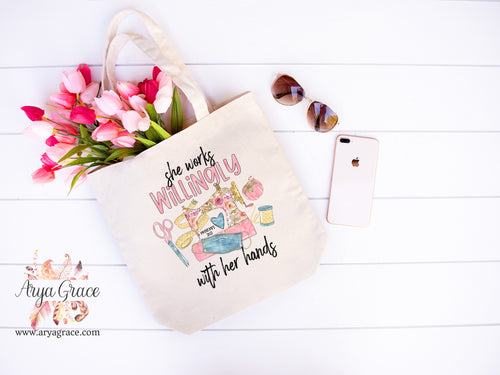 She Works Willingly With Her Hands {Sewing} Canvas Tote