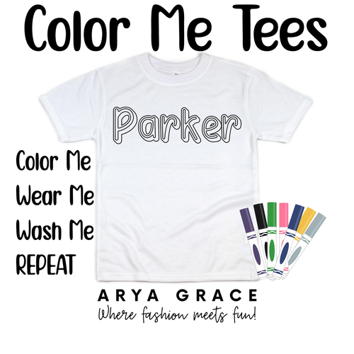 Super Hero Font Color Me💙Name Graphic Tee {Toddler/Youth Sizing}
