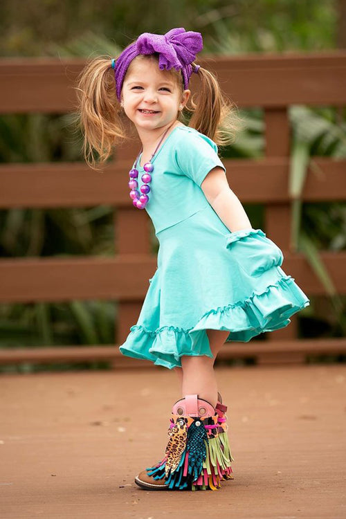 Turquoise Twirl Dress Set