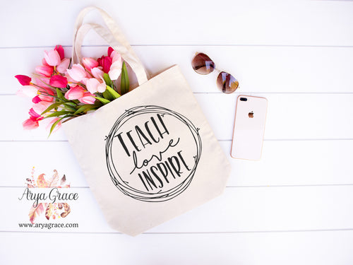 Teach Love Inspire Circle Canvas Tote