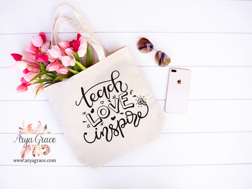 Teach Love Inspire Canvas Tote
