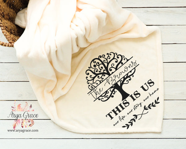 This is Us Family Tree Cream Soft Micro Fleece Blanket