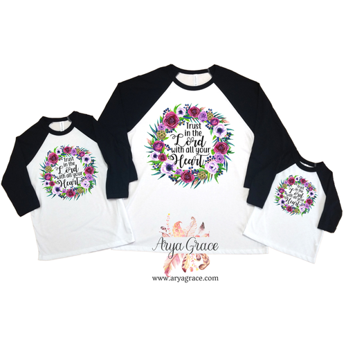 Trust in the Lord Floral Wreath Graphic Tee {Infant/Toddler/Youth Sizing}