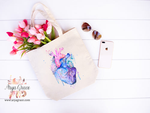 Watercolor Heart Canvas Tote